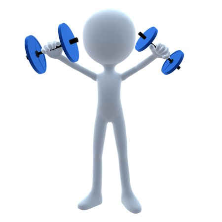 3D guy with weights on a white background