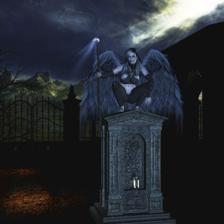 Angel of Death zittend op een tombtone Stockfoto
