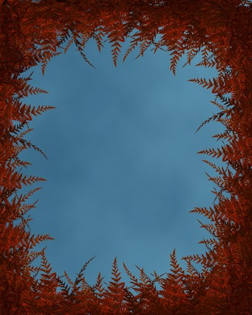 Autumn background with fall ferns and cloudy sky