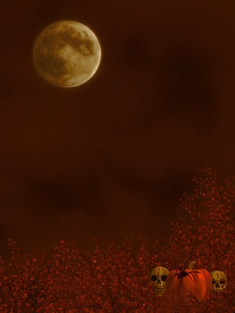 Autumn background with moon, spiders, skulls and a pumpkin