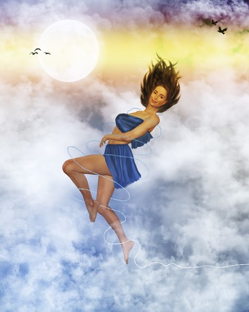 femine: Woman on top of clouds