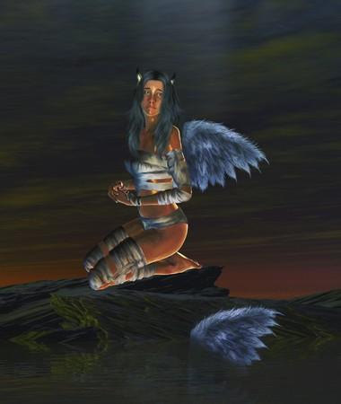 Gevallen engel met horens en vleugels