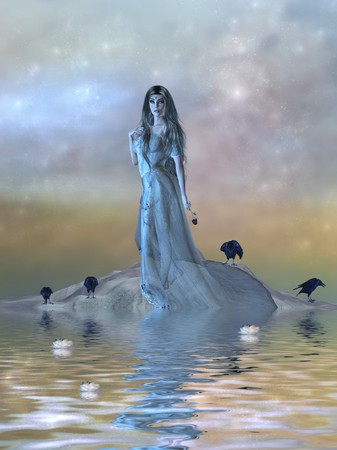 lily pad: Beautiful female surrounded by water and crows