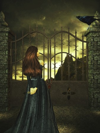 Woman standing with a key tothe gate looking  up the the crow