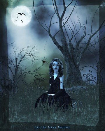 scary forest: Gothic little miss muffet nursery rythme