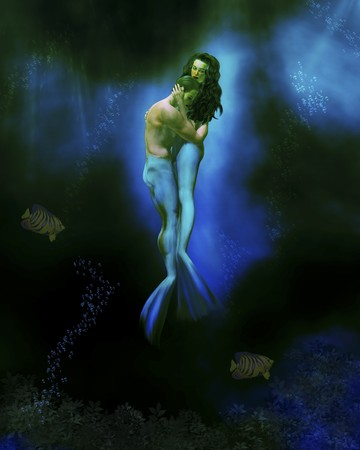Mermaid man and woman embracing under the sea Stok Fotoğraf - 8087063