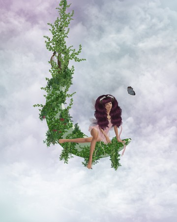 pixy: Fairy sitting on a vined moon in the clouds