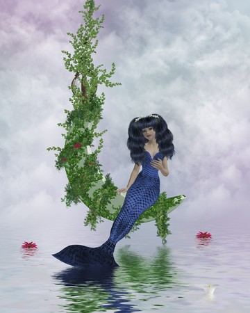 nymphet: Mermaid sitting on a vined moon above water