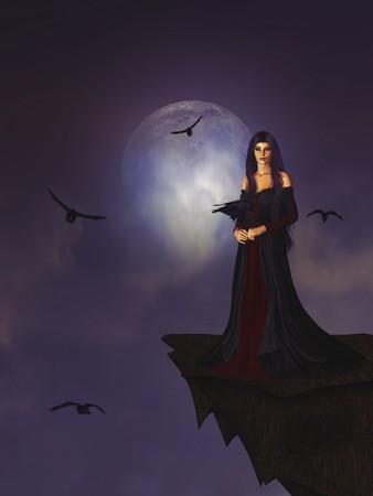 strega: Gotica donna in piedi su una sporgenza circondata da corvi in una luna piena