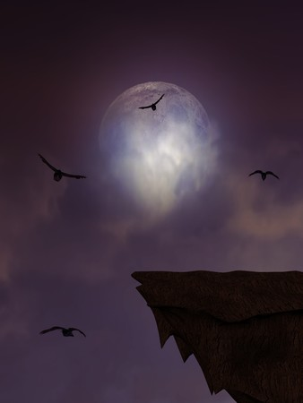 Full moon overlooking a ledge surrounded by crows Stock Photo - 8087008