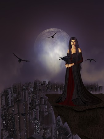 Gothic woman standing on a ledge surrounded by crows in a full moon