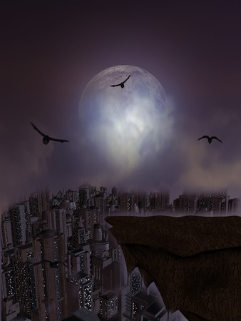 Full moon overlooking a ledge surrounded by crows