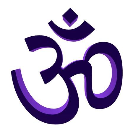 hinduismo: 3D ohm p�rpura sobre un fondo blanco