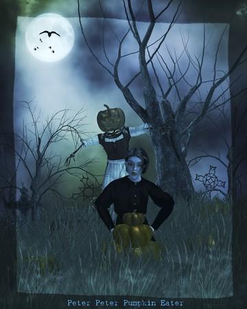 Gothic peter peter pumpkin eater nursery rythme Stock Photo - 8087103