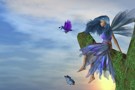 pixy: Fairy sitting on a tree with a bird and butterfly Stock Photo