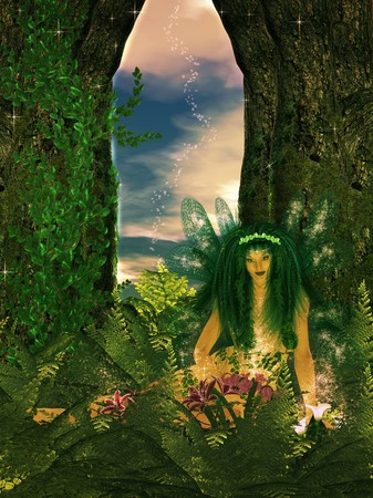 Fairy in the enchanted forest recharging her magical powers Standard-Bild