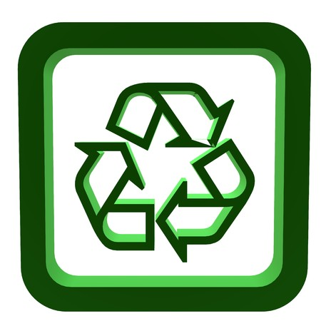 3D green recycle symbol on a white background photo