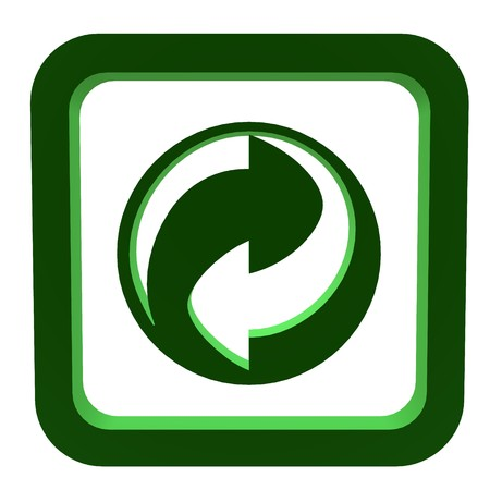 symbol: 3D green recycle symbol on a white background