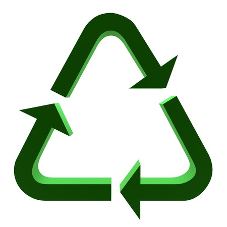 3D green recycle symbol on a white background