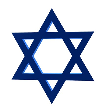 zionism: 3D star of david on a white background