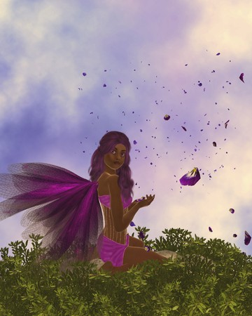 African american fairy holding rose petals