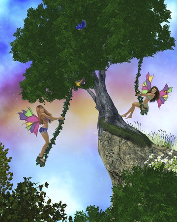 Two fairies swing on swings in a magical enchanted forest photo