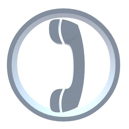 caller: 3D telephone symbol on a white background