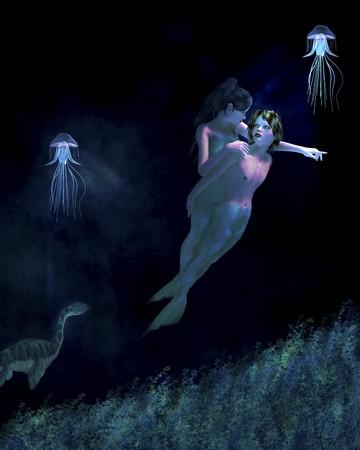 Mermaid boy and girl swiming under the sea