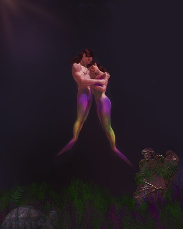delectable: Mermaid man and woman embracing