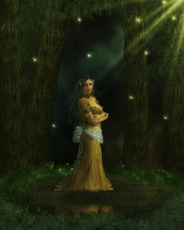 Elvian queen standing in the enchanted forest