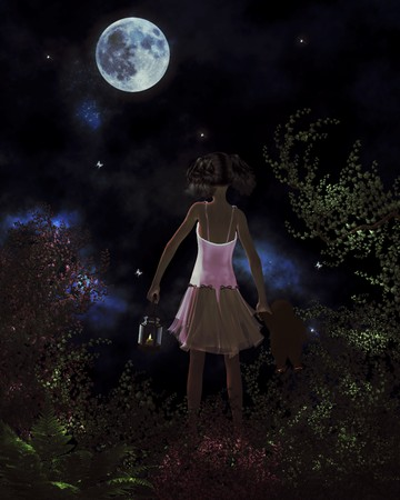 Little girl finding her way home by the light of the moon Stock Photo - 8087097