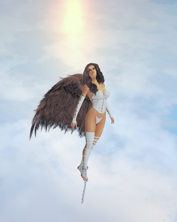 Angel with brown wings broke out of chains photo