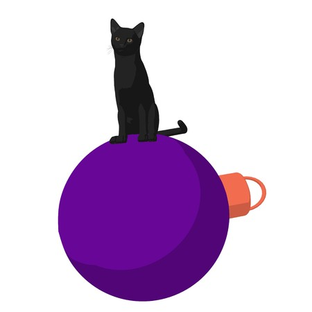 Black cat on a christmas ornament on a white background