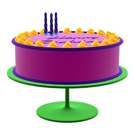 白の背景に 3 D の誕生日ケーキ 写真素材
