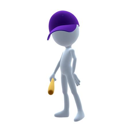 umpire: 3D baseball guy holding a baseball bat on a white background
