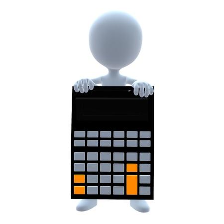 3D calculator guy on a white background Banco de Imagens