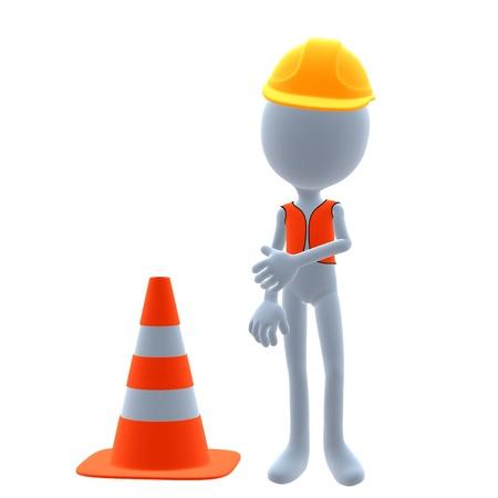 3D construction guy on a white background Stok Fotoğraf