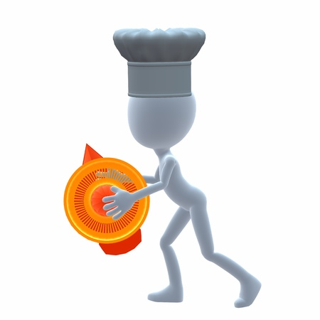 juice squeezer: 3D chef guy holding a orange juice squeezer on a white background