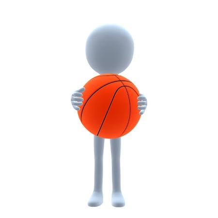 3D basketball guy on a white background Banco de Imagens