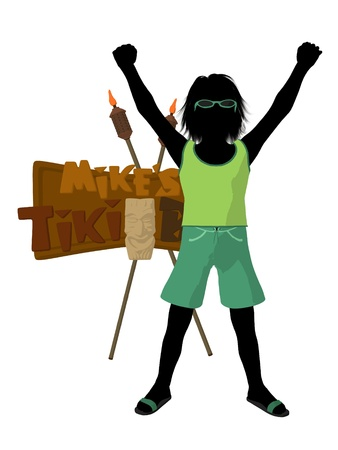 Beach boy with tiki illustration silhouette on a white background Stock Illustration - 8620127