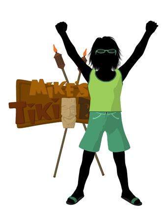Beach boy with tiki illustration silhouette on a white background Stock Illustration - 8620127