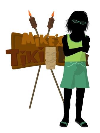 Beach boy with tiki illustration silhouette on a white background Stock Illustration - 9757616