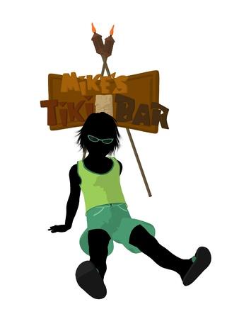 Beach boy with tiki illustration silhouette on a white background Stock Illustration - 8620063
