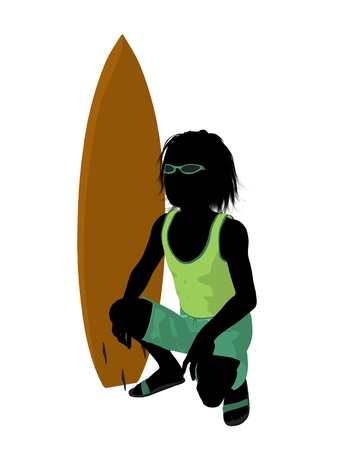 Beach boy with surfboard illustration silhouette on a white background illustration
