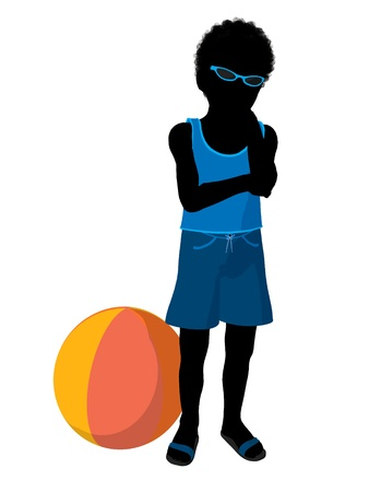 African american beach boy with beach ball illustration silhouette on a white background illustration