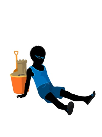 African american beach boy with sand castle illustration silhouette on a white background illustration