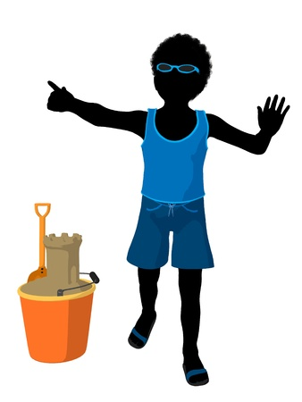 pail tank: African american beach boy with sand castle illustration silhouette on a white background
