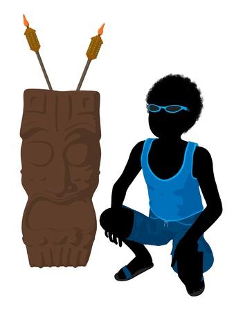 白地にティキ図シルエットのアフリカ系アメリカ人の浜の男の子