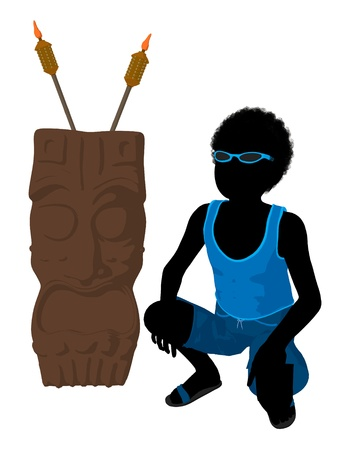 African american beach boy with tiki illustration silhouette on a white background Stock Illustration - 8620185