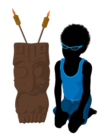 African american beach boy with tiki illustration silhouette on a white background Stock Illustration - 8620189